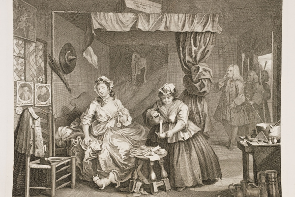 William Hogarth. Career prostitutes. Arrest