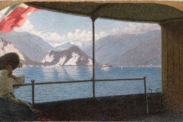 Angelo Morbelli. Boat on lake Maggiore