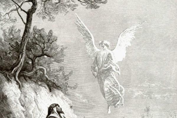 Поль Гюстав Доре. Иллюстрация к Библии: Ангел приносит пищу и питье пророку Илие