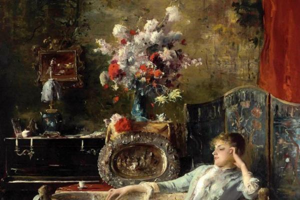 Михай  Мункачи. Молодая женщина на диване