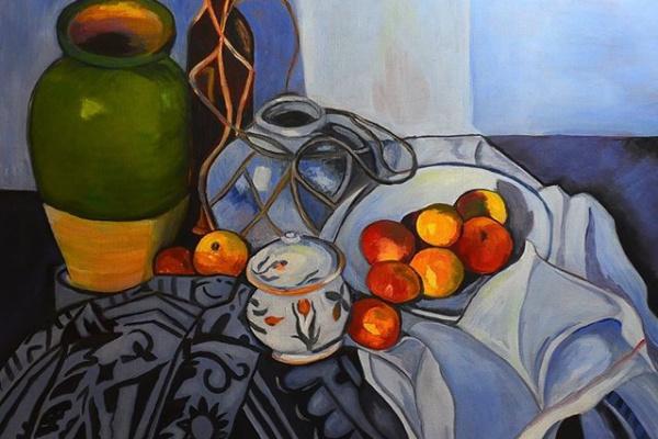 Людмила Федоровна Андреева. Натюрморт с яблоками. Свободная копия картины Поля Сезанна.