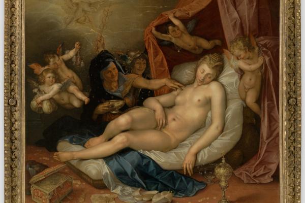 Хендрик Гольциус. Спящая Даная готовится к приему Юпитера