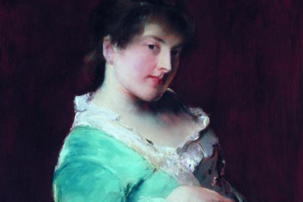 Михай  Мункачи. Женщина в зеленом, опирающаяся на подлокотник