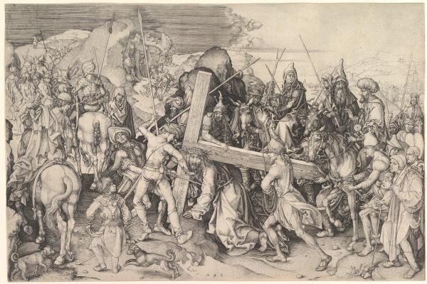 Martin Schongauer. Carrying the cross