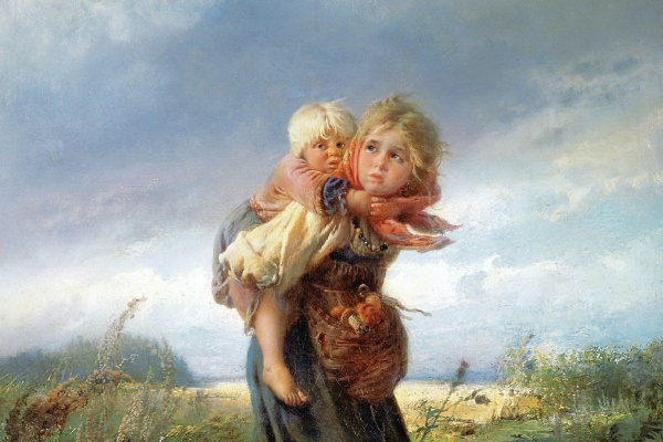 Konstantin Makovsky. Children running from the storm