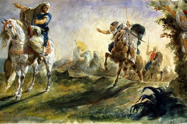 Эжен Делакруа. Арабские всадники скачут на поиски