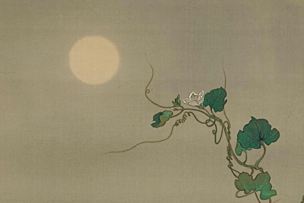 """Tsukioka Yoshitoshi. """"The spirit of the late Yugao, woven in the lunar flower vines"""", based on the engraving """"Evening Faces"""" from the series """"One Hundred Aspects of the Moon"""""""