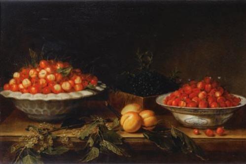 Йозеф Плепп. Натюрморт с ягодами на мрамоном выступе