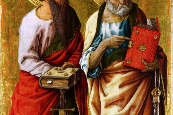 Карло Кривелли. Святые Петр и Павел. Полиптих Порто-Сан-Джорджио. Левая панель.