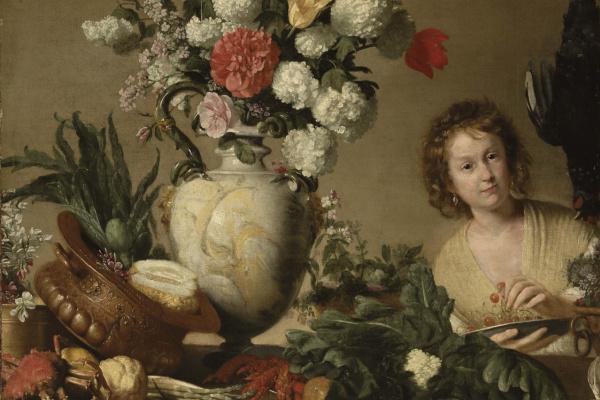 Бернардо Строцци. Цветочный натюрморт с женщиной держащей тарелку.