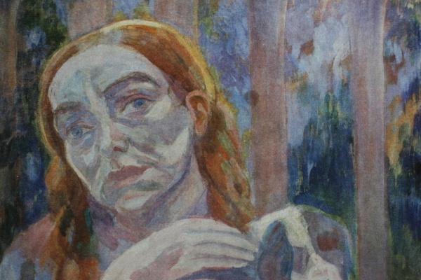 Павел Варфоломеевич Кузнецов. Женщина с собачкой.1908-1909 Темпера