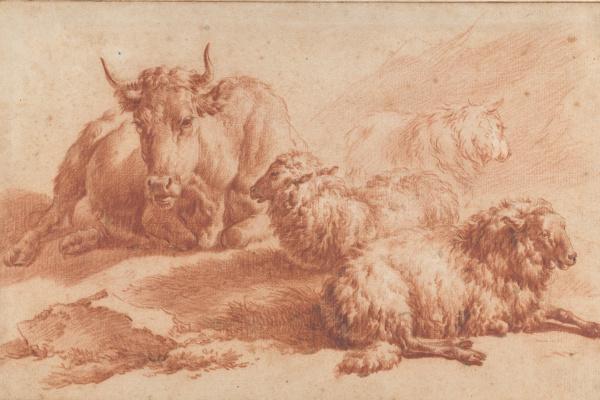 Adrian van de Velde. A cow and three sheep