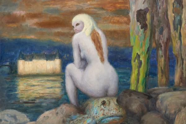 Леонид Исаакович Фрешкоп. Женщина-кошка на рыбе. 1968
