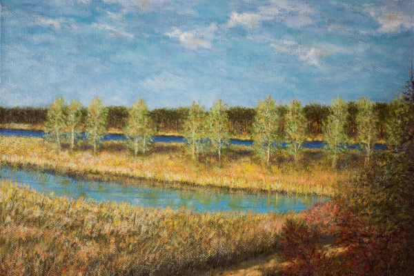 Albert Safiullin. River landscape. May in Jurmala.