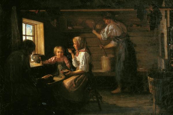 Kirill Vikentyevich Lemokh. Peasant lunch. Odessa Art Museum, Ukraine