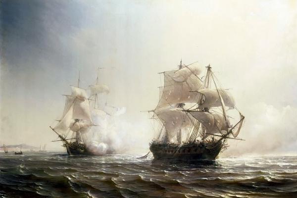 Теодор Гюден. Морской бой между французским и английским фрегатами Эмбускадом и Бостоном близ Нью-Йорка 30 июля 1793 года