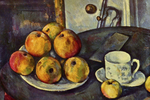 Поль Сезанн. Натюрморт с бутылкой и корзиной с яблоками