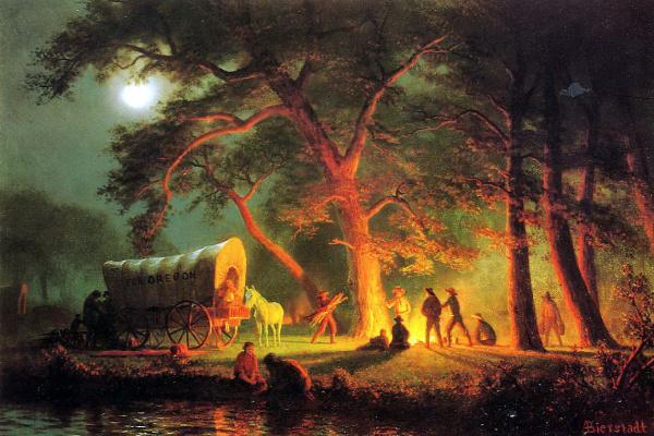 Albert Birštadt. The Oregon trail. The camp fire