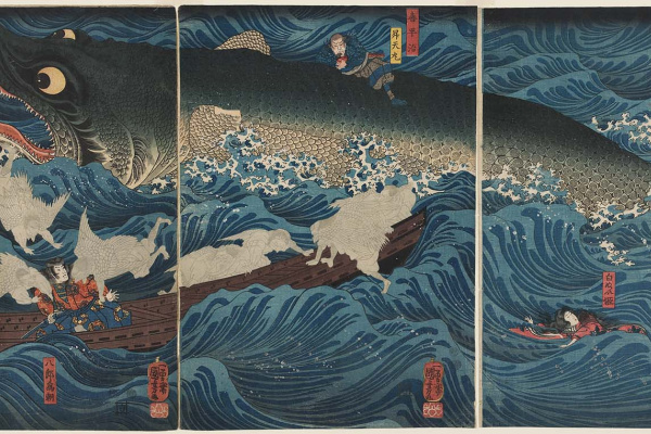 Utagawa Kuniyoshi. Former Emperor Sutoku from Sanuk sends his rescuers to rescue Tametomo
