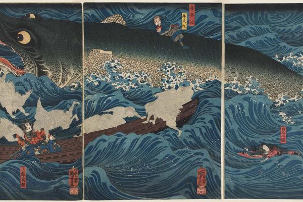 Utagawa Kuniyoshi. Former Emperor Sutoku from Sanuk sends his rescuers to rescue Tametomo