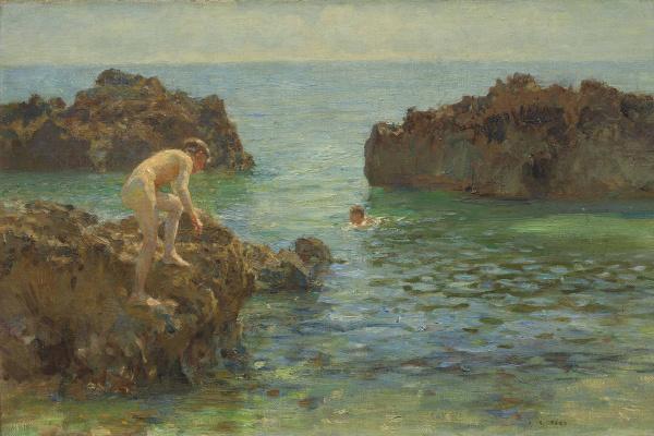 Tuke Henry Scott. 1858-1929. Small bathing picture (Boys bathing). 1922