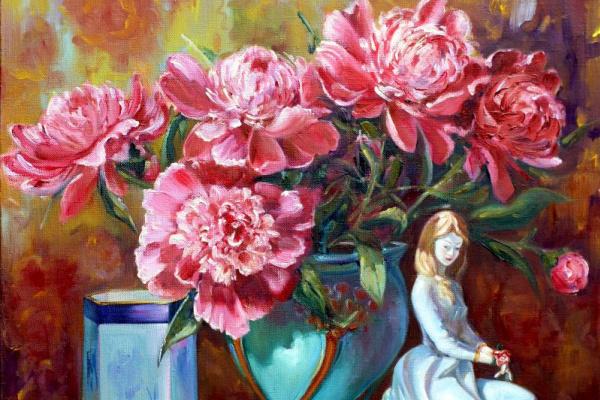 Roman Fedorovich Fedosenko. Girl with flowers