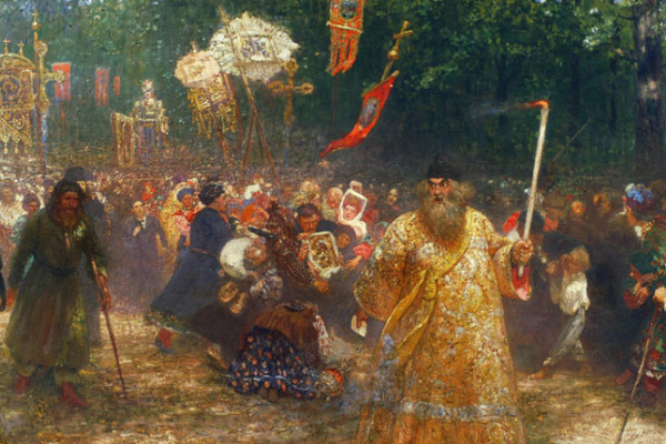 Ilya Efimovich Repin. Procession in the oak forest. Apparent Icon
