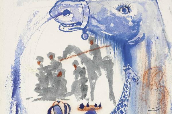 Salvador Dali. Odaliske and giraffe with nostril spray