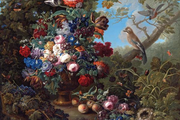 Иоганн Баптист Дрехслер. Большой цветочный натюрморт с птицами
