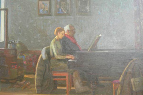 Евгений Александрович Казанцев. Урок музыки. Ленинград. 1941г.