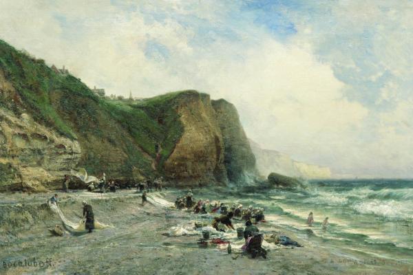 Alexey Petrovich Bogolyubov. Laundresses on the shore. Private collection