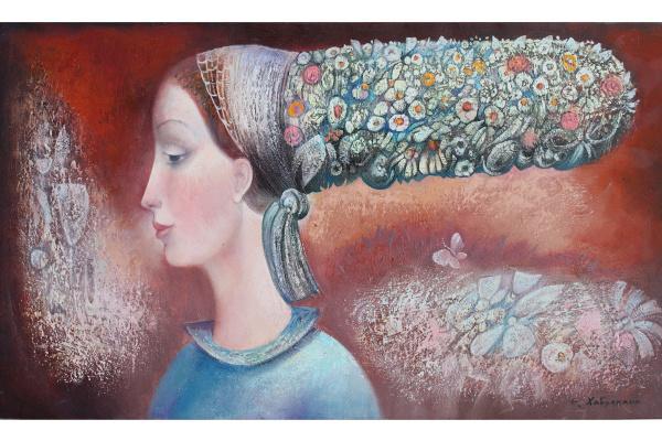 Эмзар Хабулиани. Девушка с цветочной прической