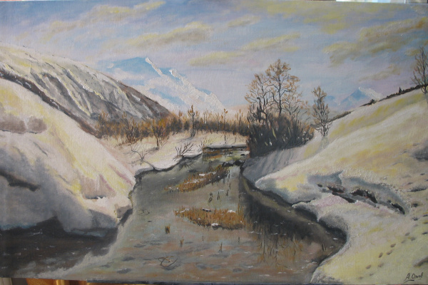 Alexander Valerievich Orlov. Engadine Valley, San Moritz (amend. Copy) plywood