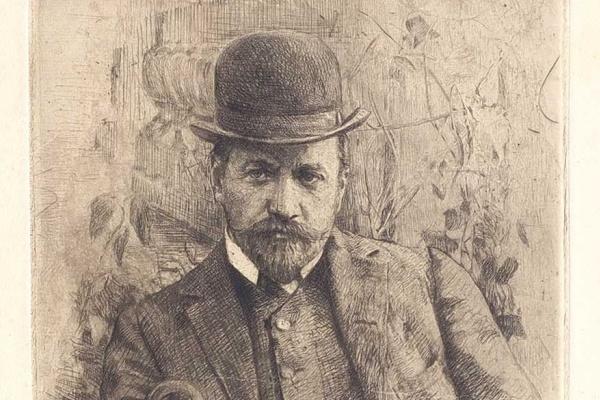 Василий Васильевич Матэ. Потрет художника В.А. Серова. 1900-е Офорт, акватинта.