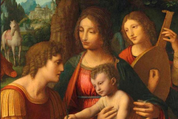 Бернардино Луини. Мадонна с младенцем, святым Георгием и ангелом
