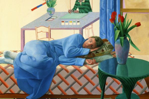 David Hockney. Model with unfinished self-portrait
