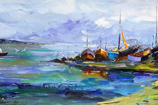 "Jose Rodriguez. ""Fishing Boats on the Shore"""