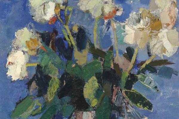 Катерин Бернард. Пионы на синем фоне