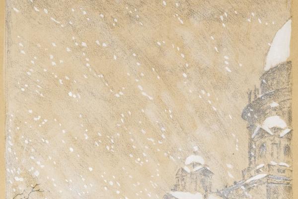 Мстислав Валерьянович Добужинский. Исаакий в метель. Литография из альбома «Петербург в двадцать первом году». 1922