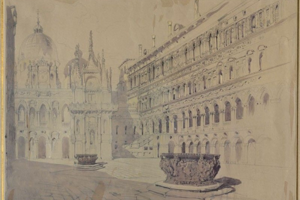 David Roberts. The courtyard of the Palazzo Ducale in Venice