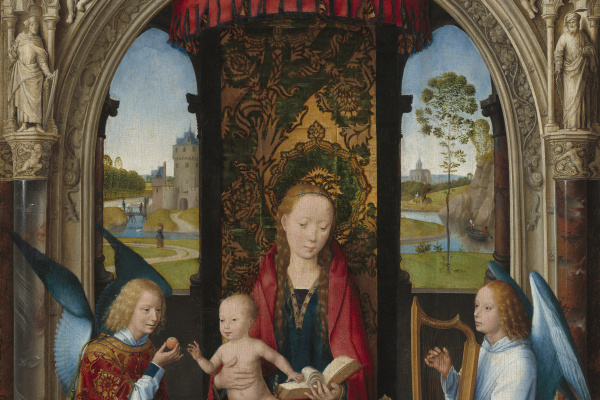 Hans Memling. Madonna and child with angels