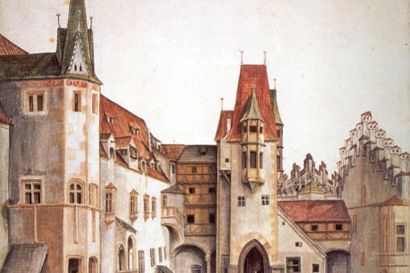 Альбрехт Дюрер. Двор замка в Инсбруке без облаков