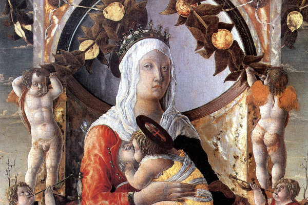 Marco Dzoppo. The Madonna and child surrounded by eight angels