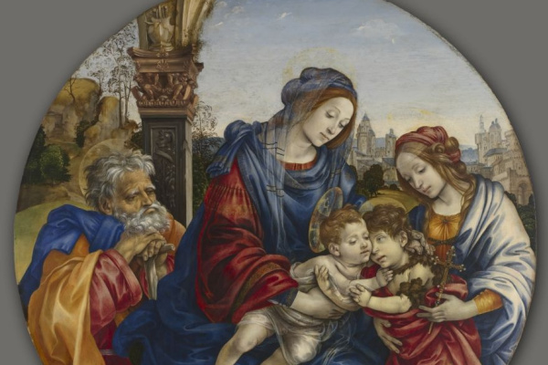 Filippino Lippi. The Holy family with the infant Baptist and Saint Margaret