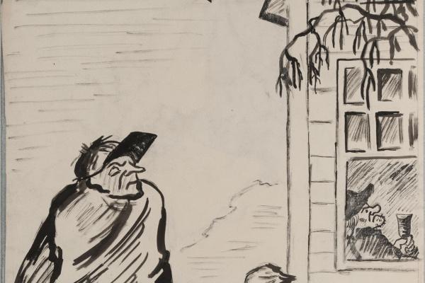 Татьяна Борисовна Александрова. Джим Хокинс и слепой Пью. Эскиз иллюстрации к роману Р. Л. Стивенсона «Остров сокровищ».