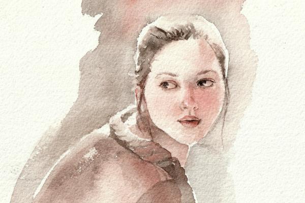 Bulgakova Tatiana. Набросок головы девушки