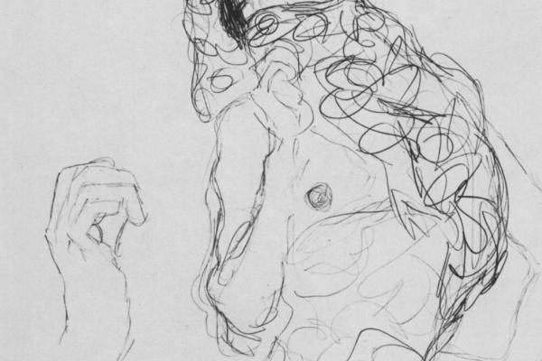 """Густав Климт. Полуобнаженная с частично прикрытым лицом и набросок руки (Эскиз для """"Невеста"""")"""