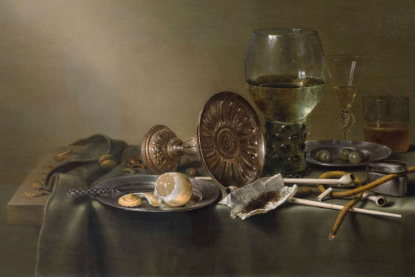 Виллем Клас Хеда. Натюрморт со стаканами и табаком