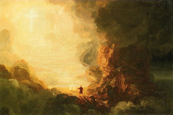Thomas Cole. The cross and the pilgrim at the end of his journey