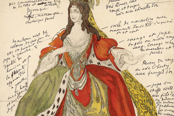 """Lev Samoilovich Bakst (Leon Bakst). Sketch of the costume of the Queen to the ballet """"Sleeping Beauty"""""""